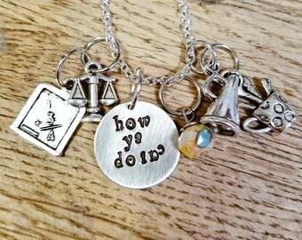 "Girl Meets World-""How ya doin'"" hand stamped necklace-Cory, Topanga, Riley, and Maya"