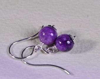 Russian Charoite Earrings Dangle Drop Earrings Small Earrings Gemstone Earrings