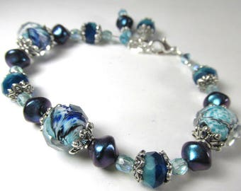 Blue Teal Aqua Turquoise Lampwork Glass Adjustable Bracelet
