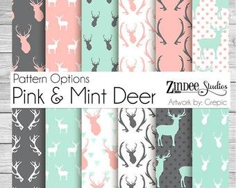 pink mint deer patterns Vinyl HEAT TRANSFER or ADHESIVE, htv or permanent adhesive vinyl printed vinyl