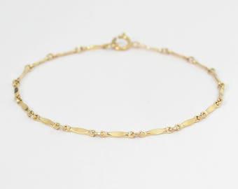 Thin delicate gold bracelet, gold filled satellite bracelet, thin delicate anklet gold bar bracelet minimalist bracelet gold chain bracelet