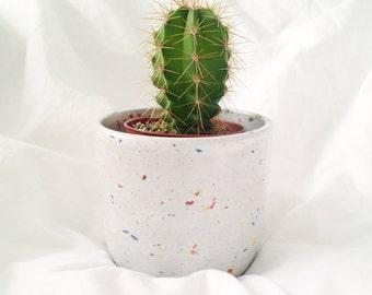 Little white planter with primary colour specks