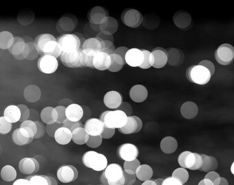 Black & white abstract photography light bokeh sparkles, sprarkling lights, white grey circles, sparkly modern art print 11x14, black decor