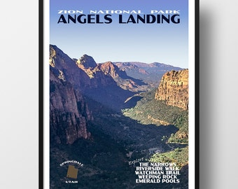 Zion Poster, zion print, national park print, national park poster, zion art, zion national park, angels landing, travel poster