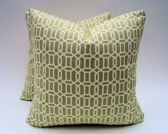 Geometric Pillow Covers One Pair 18 x 18 Spring Green and Ivory Pillows Decorative Pillows Throw Pillows Toss Pillows Accent Pillows Cushion