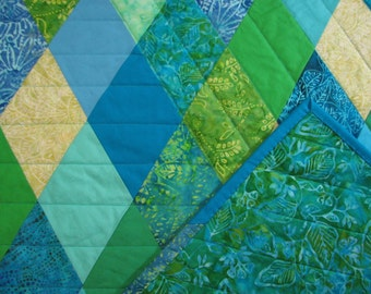 "Modern Lap Quilt, Diamond Quilt, Blue and Green Quilted Throw, Beach House Decor, 42"" x 57"", Quiltsy Handmade"