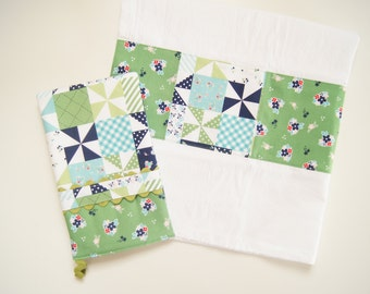 Oven Mitt or  Kitchen Towel in Country Patchwork - Navy and Green