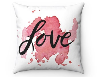 LOVE Pillow Cover Inspirational Square Decorator Pillow Case