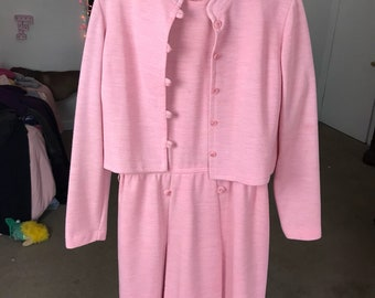Late 60s early 70s pink dress with matching jacket