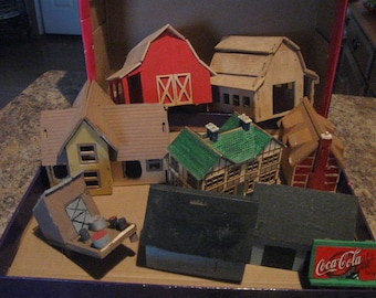 vintage wood and plastic houses small village home made  fun incomplete project