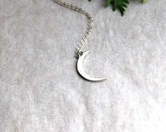 Crescent Moon Sterling Silver Necklace Cosmic Night Sky Jewelry