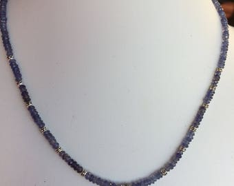 Necklace — Iolite in Sterling Charm, Faceted Iolite and Silver Accent