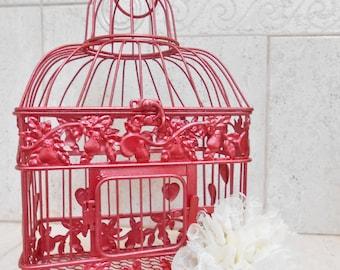 Small Apple Red Wedding Birdcage Card Holder | Fall Wedding | Winter Wedding | Red Wedding | DIY Wedding Birdcage