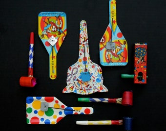 Vintage New Year Party Noisemakers / Birthday Party Noisemakers / Assortment of 8 Party Noise Makers / Halloween