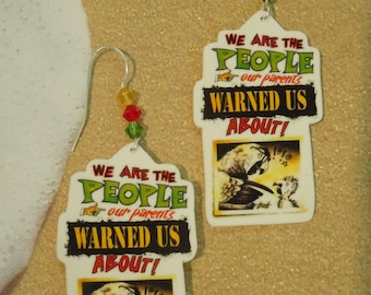 parrothead jimmy buffett margaritaville tropical beach we are the people our parents warned us about charm earrings