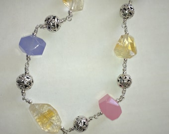 Citrine, Rose Quartz and Lavender Jade Necklace