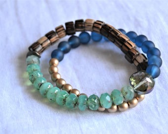 WRAP BRACELET Czech Glass and Wood Beads Blue Aqua Brown Gold Beaded Wrap Layered Bracelet