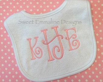 Personalized Embroidered Monogrammed Baby Bib -- Monogrammed Bib