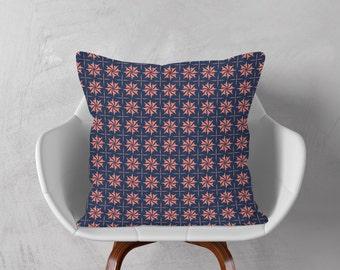 Coral Navy Cushion, Geometric Cushion Cover, Blue Throw Pillow, Blue Pink Decorative Cushion, Pillow Case, 16x16 18x18 20x20, Accent Pillow