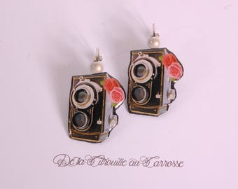 Retro camera earrings, pink flowers