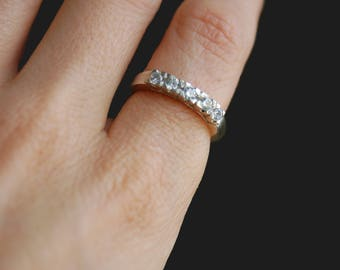 Elegant modern classic sterling silver ring with prong set white CZ diamonds, timeless ring, engagement ring, multistone ring