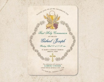Boy First Communion Invitation /// Religious First Holy Communion Invitations with vines chalice host /// FREE SHIPPING!