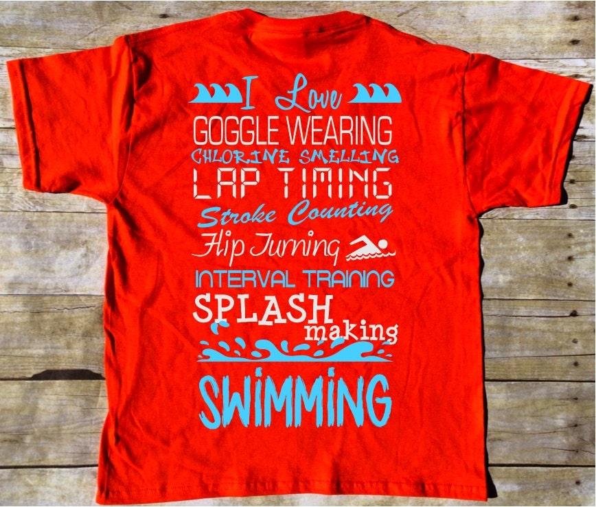 I Love...Swimming T-shirt Swimmer t-shirt Swimming T-shirt
