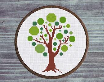 Cross Stitch Pattern Geometric Tree Instant Download PDF Counted Chart