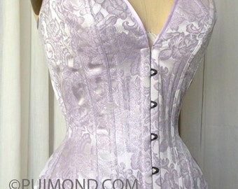 PUIMOND PY12 Plunge Long Overbust Corset Size 24 in Lilac Brocade NEW In-Stock