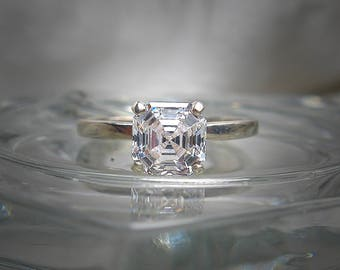 Swarovski Imperial Mosaic Asscher Cut 6mm (1.25 cts) Cubic Zirconia Sterling Silver or 14k YG Solitaire Ring Made to Order