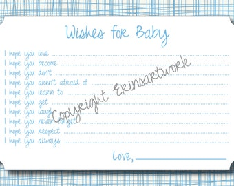 PRINTABLE Wishes for Baby Cards - Unique Baby Shower Activity Game or Memory Book Idea - Blue