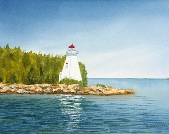 Tobermory- Georgian Bay - Tobermory lighthouse - Lake Huron - watercolour - giclee print - blue - decor - lake - reflections - lighthouse