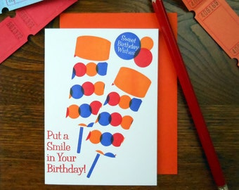 letterpress put a smile in your birthday push up pop birthday greeting card