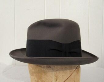 Vintage hat, vintage Fedora, Dobbs hat, felt hat, 1950s hat, vintage clothing, 7 1/8