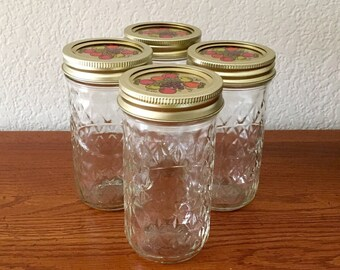 4 Ball Quilted Crystal Jelly Jars with Decorative Lids / Tall Jelly Jars / Jam Jars / 12 oz Canning Jars / Quilted Jelly Jars