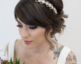Gold Bridal Headband, Bridal Crystal Headband, Gold Wedding Headband, Gold Art Deco Headband, Gold Bridal Headband, Crystal Headpiece