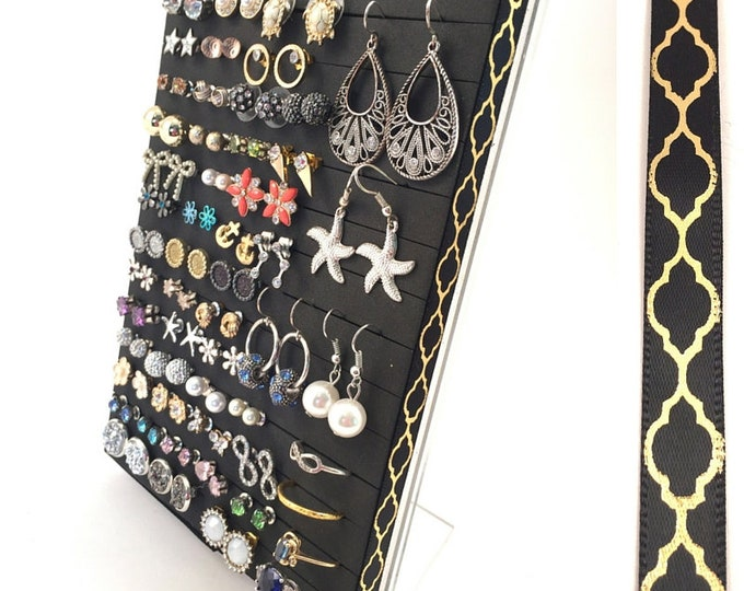Post Earring Organizer - Gold Quatrefoil Ribbon - Hook & Stud Earring - Leave the Backs on!