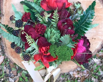 Reserved for Jillian: sample burgundy berry, peony and lush greenery bridal bouquet, artificial wedding flowers, keepsake wedding bouquet