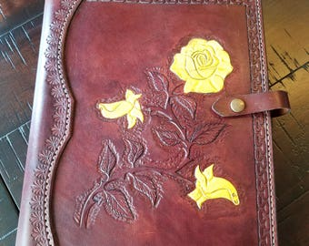 Hand carved & stitched leather journal