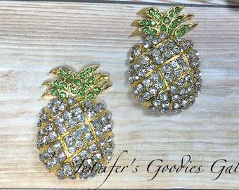 Set of Two - 34x23mm Gold plated Pineapple Rhinestone Embellishments - Flatback Rhinestone Button - Metal Rhinestone - Wholesale