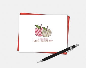 Personalized Apple Teacher Note Cards - Teacher Gifts - Apple Gift - Set of 10 - Folded Note Cards - Chevron Apple Stationery for Teachers
