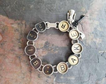 221B BAKER - Antique Typewriter Key Bracelet