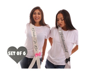 Bridesmaid Sashes Set of 6 Bridesmaid Sashes Bachelorette Sashes, Bridesmaid Sash, Bride Sash, Bride to Be Sash, Bachelorette Party