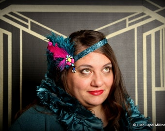 Holiday Headband,Turquoise and Pink 1920's Flapper inspired Retro Style Headband, Whimsy, Gatsby