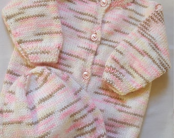Size 6 Months Girls Hand Knitted 2pc Outfit/Sweater And Hat Set / Infant/ Pink, Brown, White, And Cream/ Button Up Sweater And Matching Cap