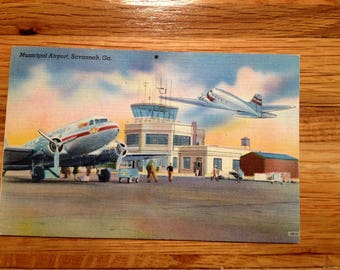 Savannah Georgia Municipal Airport Vintage Postcard