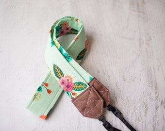 mint floral camera strap, floral print, photographer gift, camera accessory, dslr camera strap, slr camera, cute camera strap, womens gift