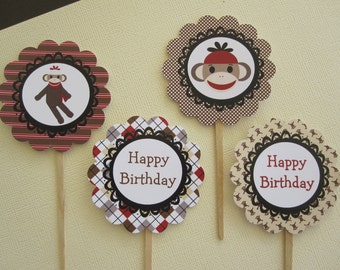 Red & Tan Sock Monkey Cupcake Toppers