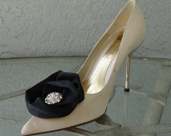 Wedding Bridal Black Satin Rose And Rhinestone Shoe Clips More Colors Available