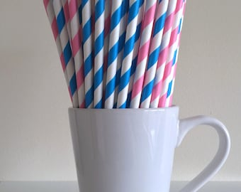 Pink and Blue Striped Paper Straws Gender Reveal Baby Shower Party Supplies Party Decor Bar Cart Cake Pop Sticks  Graduation